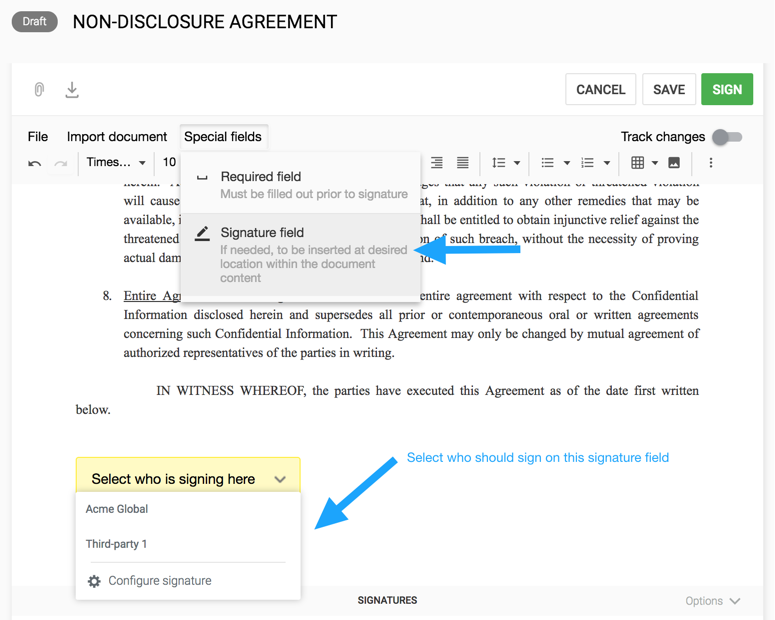 Adding Signature Fields Directly On Your Contract Concord Support